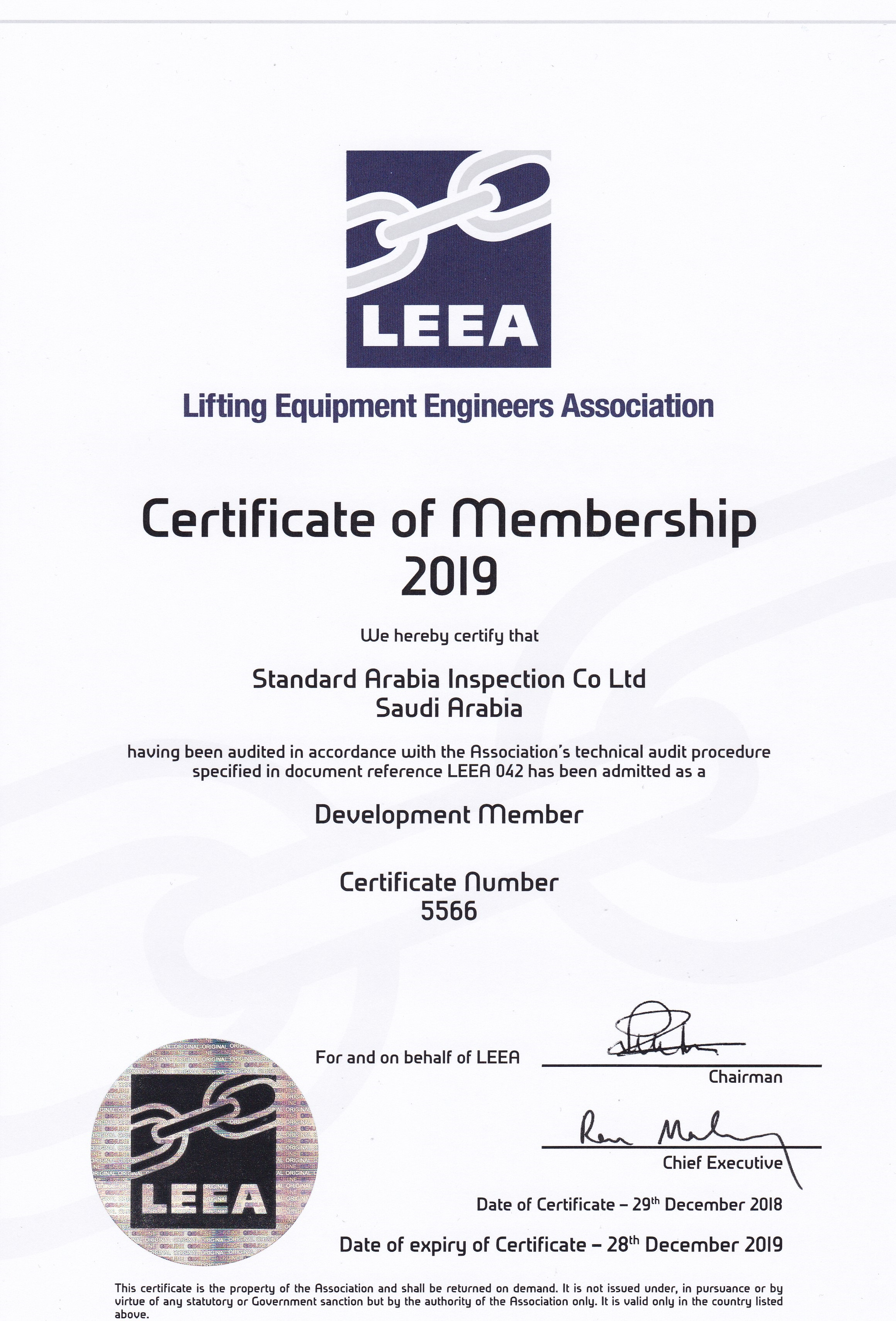 Certified as a member of the LEEA